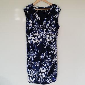 Lauren Ralph Lauren blue floral faux wrap dress 18